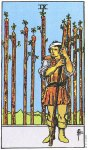 9 of Wands Upright - Card images are © Copyright U.S. Games Systems, Inc.""