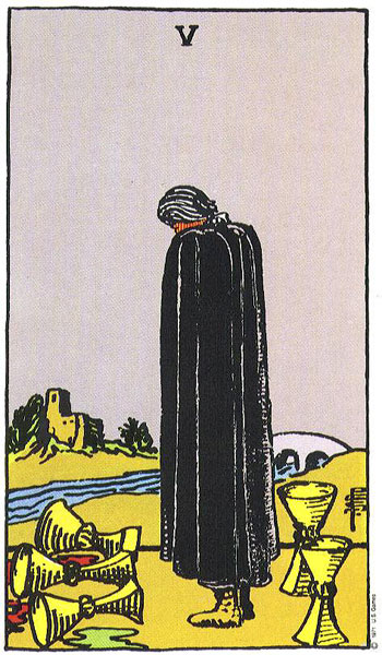 Five (V) of Cups – Truly Teach Me Tarot