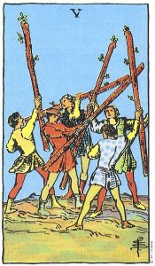 5 of Wands Upright - Card images are © Copyright U.S. Games Systems, Inc.""