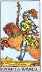Knight of Wands Upright - Card images are © Copyright U.S. Games Systems, Inc.""