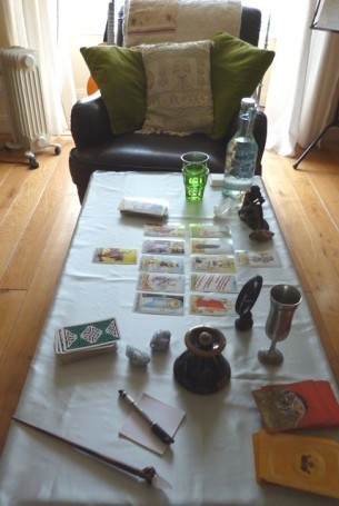 Room set up for a Tarot Reading