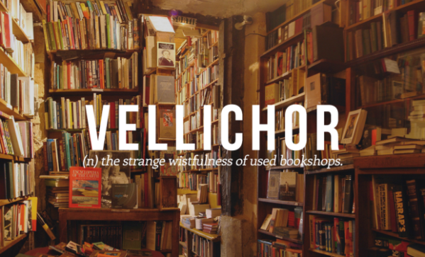 "THIS IS MY AESTHETIC. | I'm assuming ""vellichor"" is a frankenword of ""vellum"" and ""petrichor"" (or ""ichor"") ?"